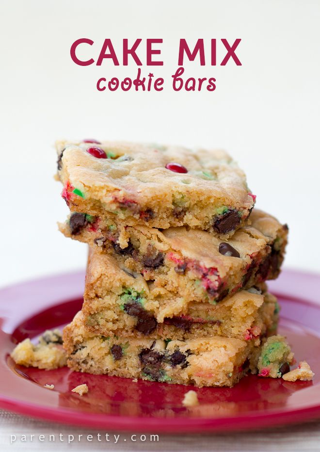 SIMPLE cake mix cookie bars, not just for the holidays! So easy and delicious.