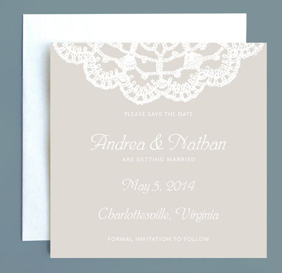 Lace Wedding Save the Date - by Leveret Paperie