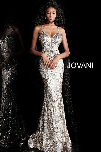 48d764d4f0e jovani Gold Silver Criss Cross Back Embellished Prom Dress 67347  www.bellasalabama.com prom-dresses jovani