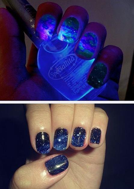 Space nails.: Solar System, Dark Nails, Nails Art, Nailpolish, Nails Polish, Glow, Spaces Nails, Galaxies Prints, Galaxies Nails