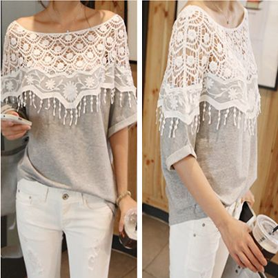 Casual Style Batwing Sleeve T-shirt.