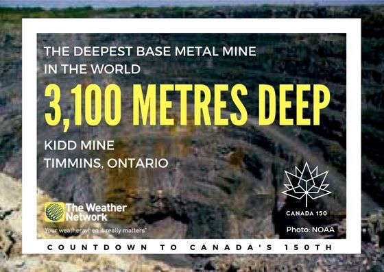 The bottom of the Kidd Mine is the closest accessible point to the centre of the Earth Great fact 133/150 #Canada150