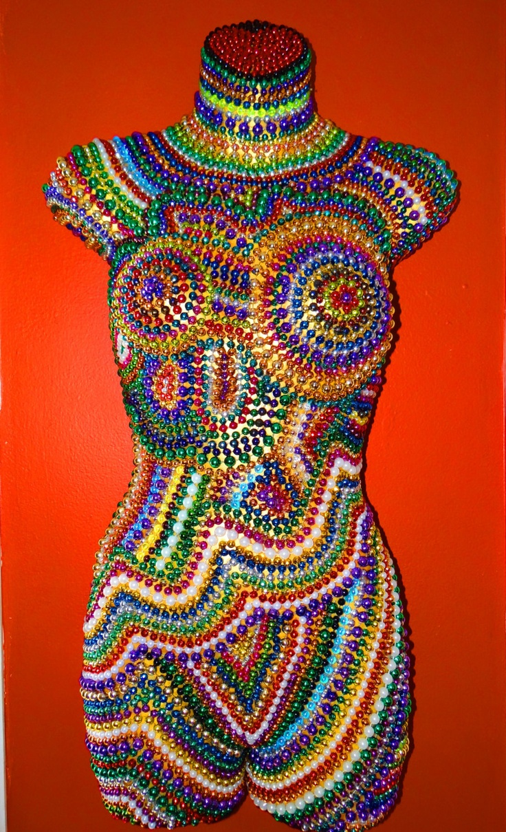Mannequin/Torso Art 1/2 Body Front  Mardi Gras Beads with Mask WallHanging (ON SALE). $150.99, via Etsy.