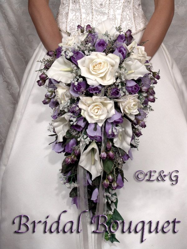 Bridal Bouquet Package Silk Flowers Cascade Bridesmaid Bouquets Groom Boutonniere Corsage Beautiful Purple Pion