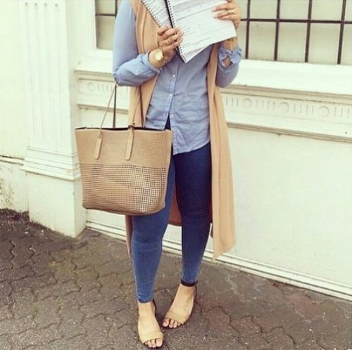 tan vest with striped shirt hijab- Trendy hijab outfits http://www.justtrendygirls.com/trendy-hijab-outfits/