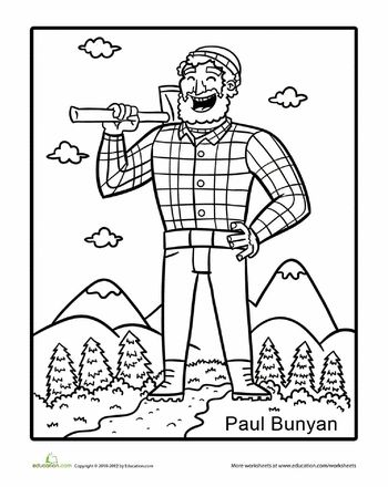 108 best social studies images on pinterest harriet for Paul bunyan coloring pages