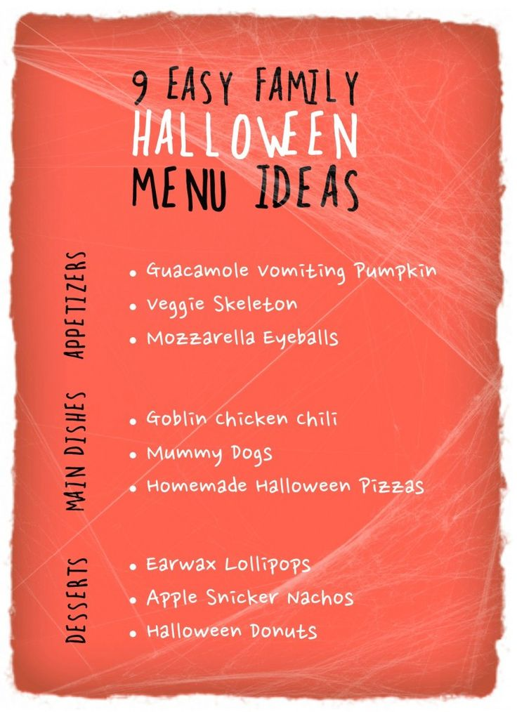 9 EASY FAMILY HALLOWEEN MENU IDEAS...from Cul-de-sac Cool! The night of Halloween can be hectic. Whether you are having a Halloween party at your house or just want to spookify your family dinner, these easy menu ideas will help make your Halloween dinner fun and Boo-licious!
