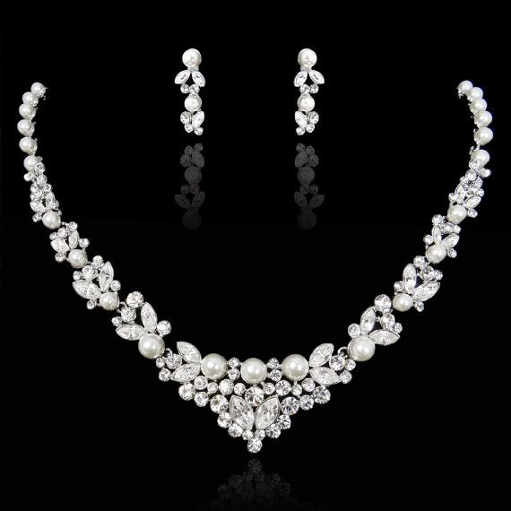 Swarovski Crystal Statement Necklace, White/Ivory Pearl Bridal Earring, Wedding Jewelry Set, Bridesmaid Jewelry-130394879