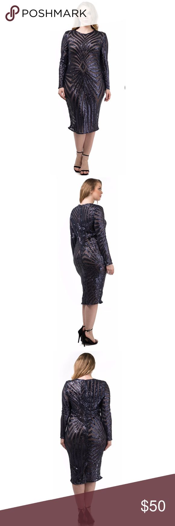 Plus Size Sequined Midi dress Brand new from our online boutique. Available in sizes 1x-3x which are true to size. Black see thru dress with dark blue sequins for highlight. Match with a black or blue slip for a perfect night out with friends or your loved one. Check out more items at www.limonadacouture.com ** 16/18 fits size 2x and 20/22 fits size 3x Dresses Midi