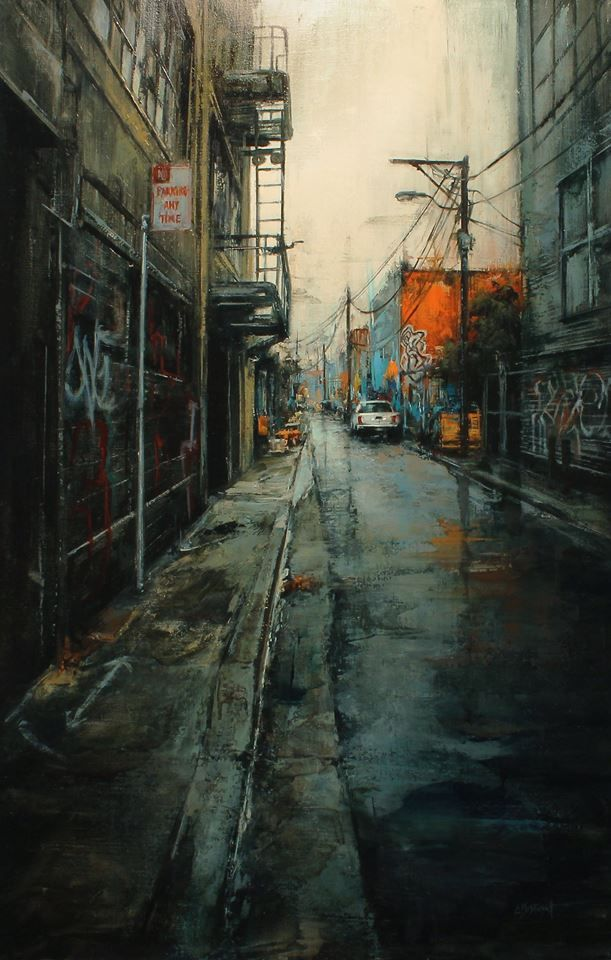 """""""No Parking"""" 18 x 28 inches, oil on panel, 2014 - Lindsey Kustusch"""