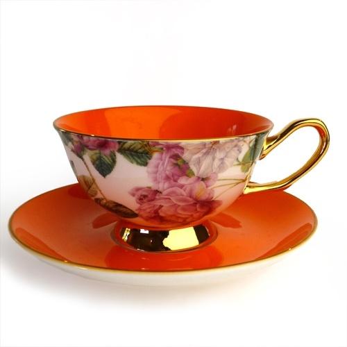 Satin Shelley Teacup, Orange
