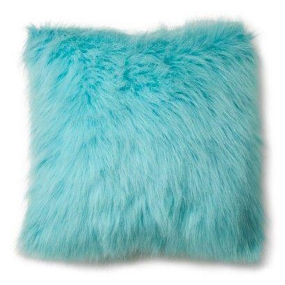 Xhilaration 174 Faux Fur Decorative Pillow Turquoise