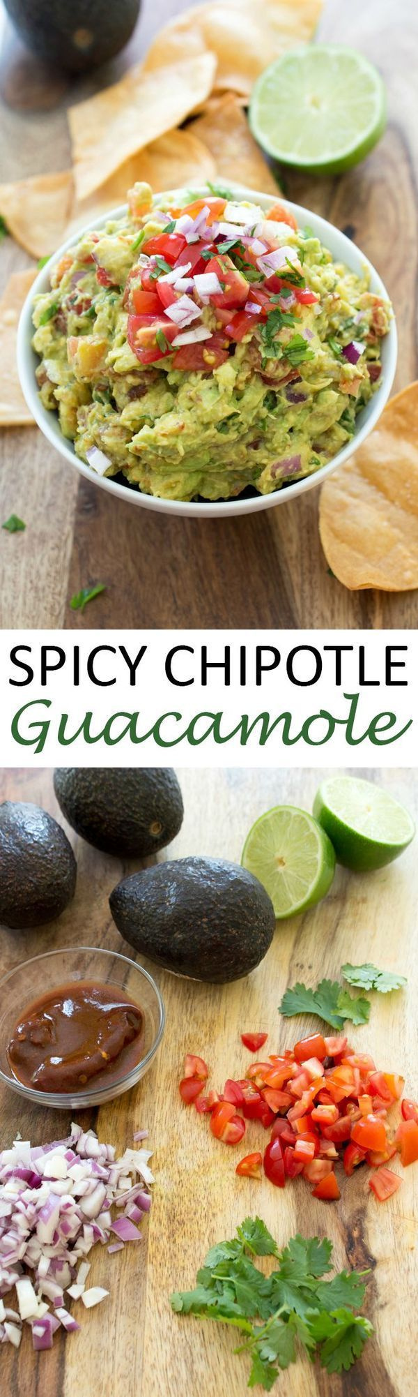 Spicy Chipotle Guacamole. Smokey, spicy and loaded with flavor. Perfect as a snack or appetizer! Just in time for Cinco De Mayo! | http://chefsavvy.com #recipe #guacamole #spicy #chipotle