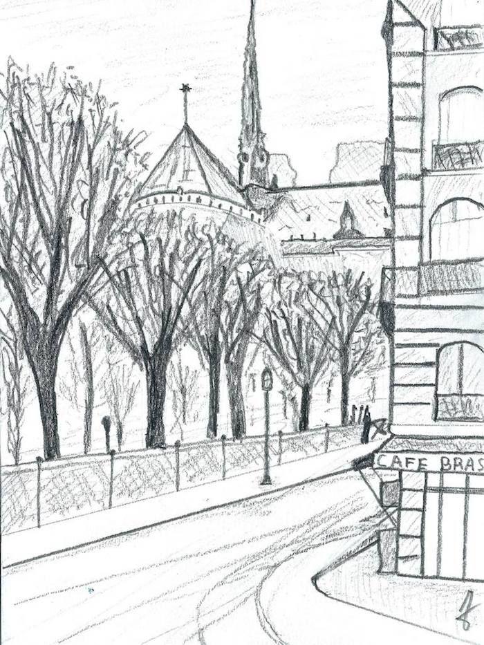 Dessiner Un Paysage En Perspective : dessiner, paysage, perspective, Images, Inspiratrices, Dessin, Paysage, Magnifique, Immeuble,, Paysage,, Ville
