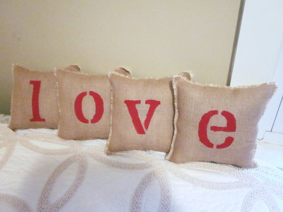 Shabby Chic Pillow Ideas : Love pillows valentines day shabby chic by 112FarmhouseLayne Valentines Pinterest Shabby ...
