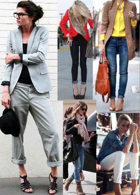 Rolled jeans - ideas how to style the rolled jean look. also like the boyfriend-business look