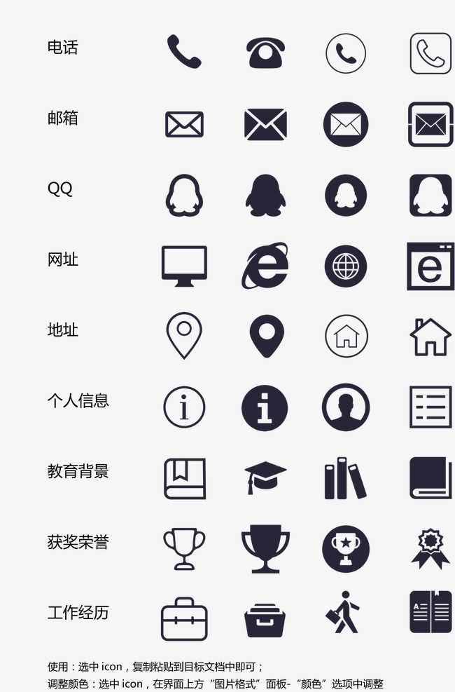 cv contacts icon element