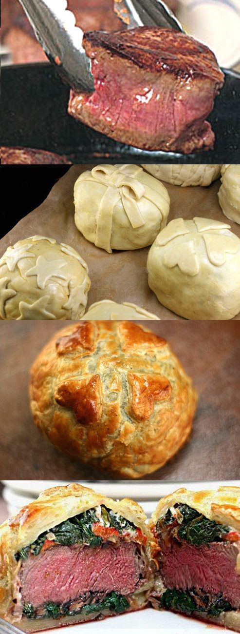 Recipe for Individual Beef Wellingtons with Mushroom, Spinach, Cheese, and Roasted Pepper Filling. #beef #foodporn #dan330 http://livedan330.com/2014/12/26/individual-beef-wellington/