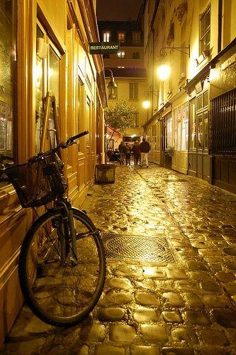 Cobblestone Street, Paris, France in gold light photo via chisato