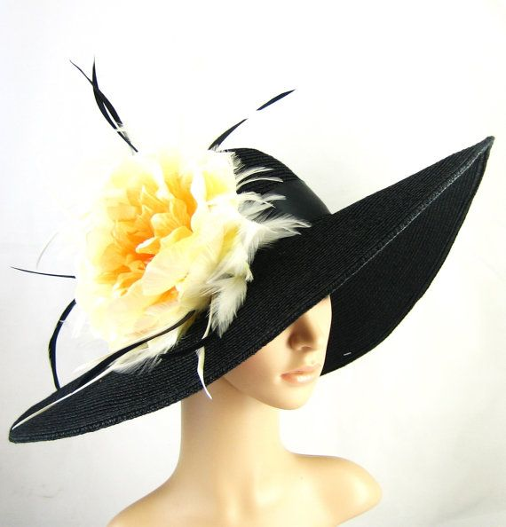 Kentucky Derby Hat Derby Hat Dress Hat Wide brim Hat Yellow-orange flower Women's Dress Hat Wedding Tea Party Ascot  Horse Race