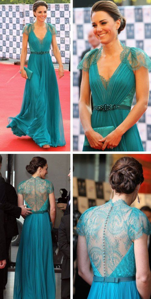 This is the most beautiful dress I've ever seen, I can't even begin to tell you just how much I like it. The details, the colour, the way it moves... this is trully a work of art. It's a teal silk and lace gown by Jenny Packham, worn by Duchess Kate Middleton.