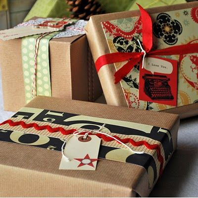 use patterned paper for gift wrapping