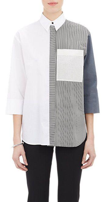 Cedric Charlier Solid & Stripe Shirt - Shirts - Barneys.com