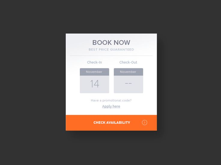 """Clean booking widget """"book now"""", select dates to check in and check out"""
