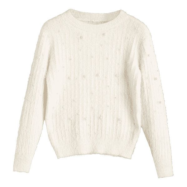 Crew Neck Beading Sweater White ($21) ❤ liked on Polyvore featuring tops, sweaters, beaded sweater, crew-neck tops, crew top, white sweater and crew sweater