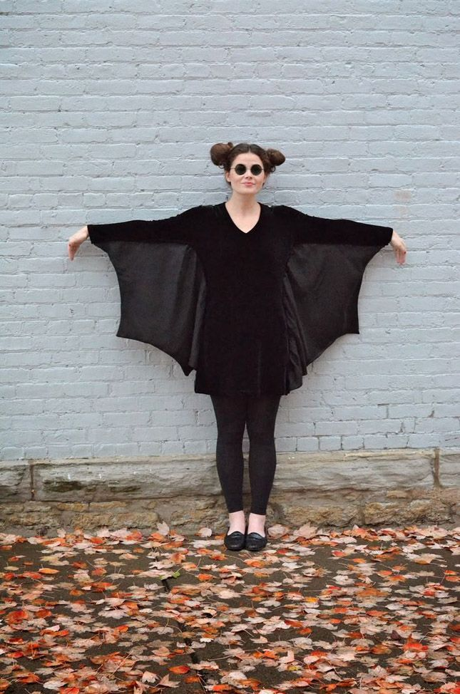 All you need to become a bat is an all-black ensemble with a sewn-in cape.