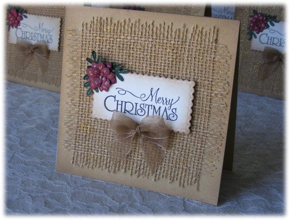 Handmade Christmas Card with burlap 3D flower and by nuts4mccoy, $3.95                                                                                                                                                                                 More