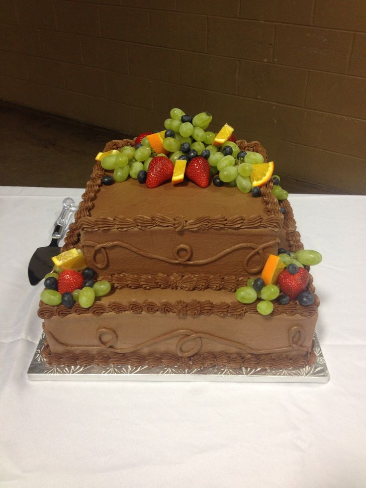 Chocolate Grooms Cake With Fruit