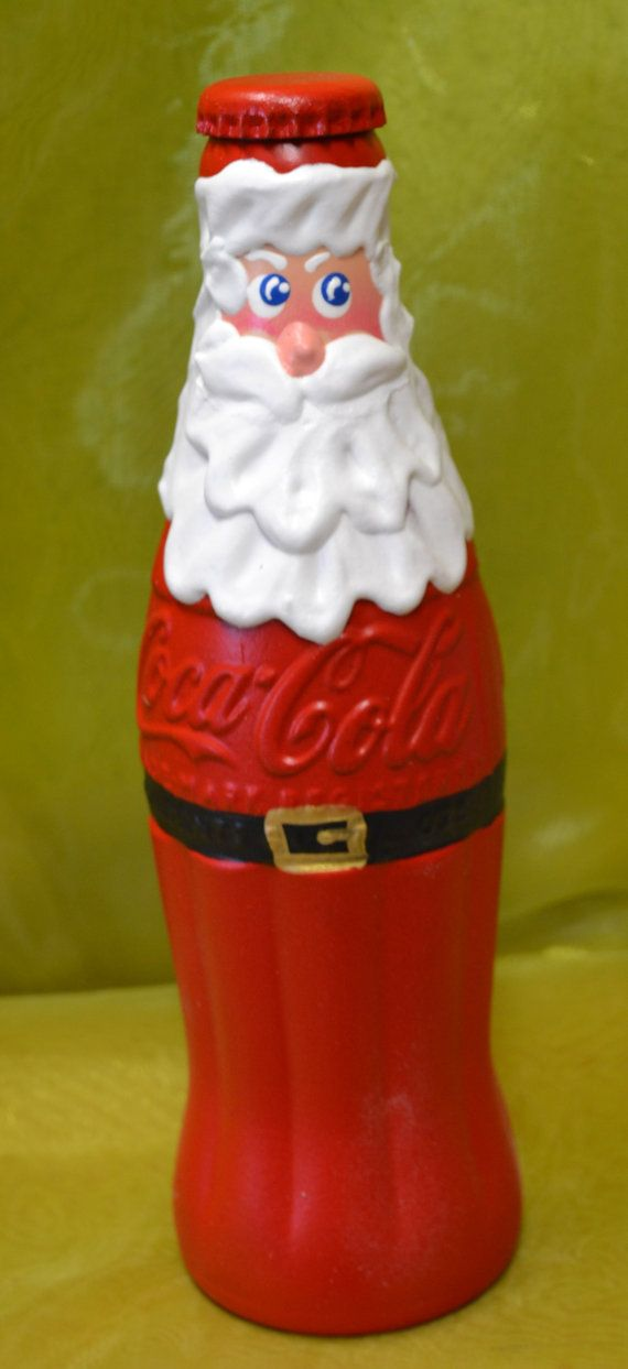 Santa Hand Painted Vintage Coca Cola Bottle with by loujanew, $25.00