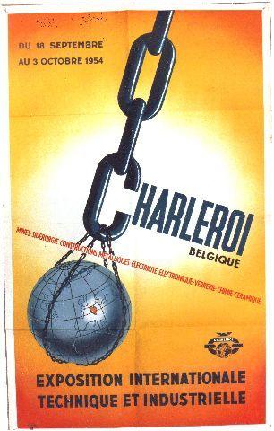 Coets - Charleroi Expo Internationale technique et industrielle - 1954 vintage poster