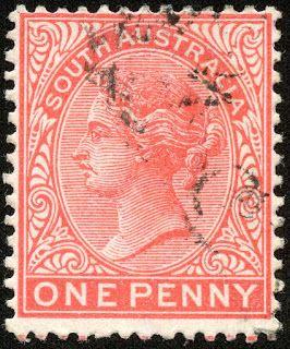South Australia 1899 Scott 115 1d carmine , Wmk 73, Perf 13