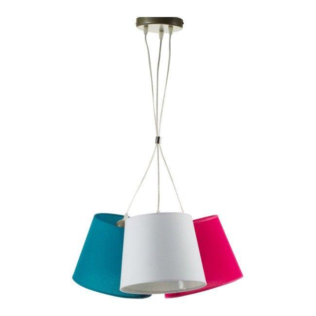 Lampa wisząca Rossa 3 x 40 W E27 biała/różowa/morska - Lampy wiszące - Lampy ścienne i sufitowe - Oświetlenie - Urządzanie