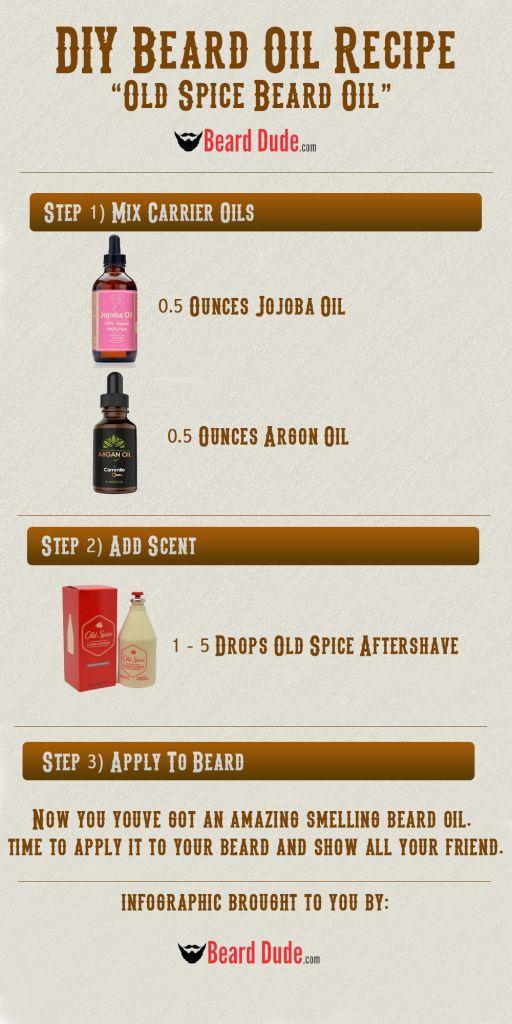 DIY Beard Oil Recipes - How to make homemade Old Spice Beard Oil. Perfect homemade beard oil that you'll love! Simple beard oil recipe that anyone can make!