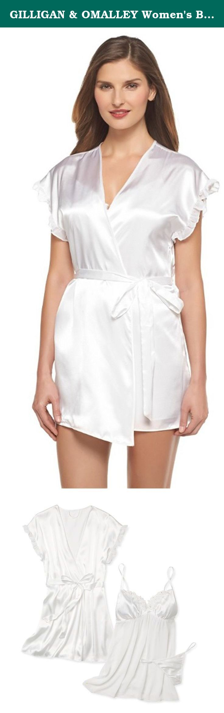 GILLIGAN & OMALLEY Women's Bridal Babydoll with Robe True White (Small, White Opaque). Perfect for bridal or spicing up your everyday look, this Women's Bridal Babydoll with Robe in True White by Gilligan & O'Malley® is a 3-piece lingerie set that gives you a flirty look in a snap. The babydoll fit adds a flattering touch, while the silky robe is ultra-luxurious.