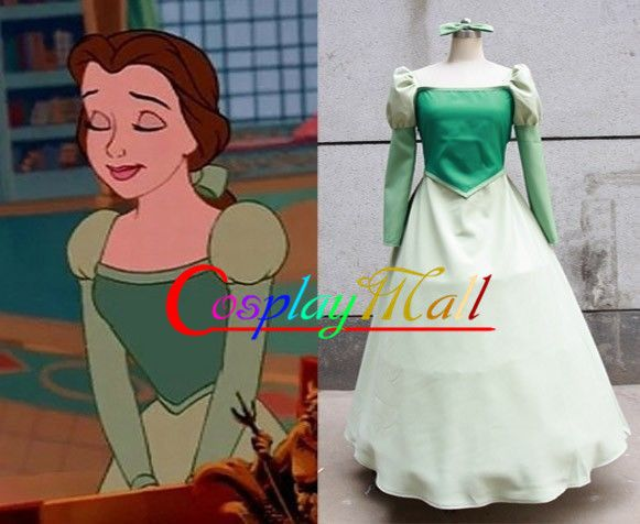 Beauty And The Beast Belle Green Cosplay Costume Custom Size Halloween