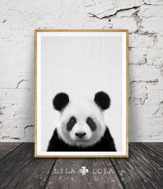 Panda Print, Panda Bear, Grey Gray Nursery Wall Art, Black and White Animal, Nursery Print, Printable Kids Gift, Instant Download, Wall Art