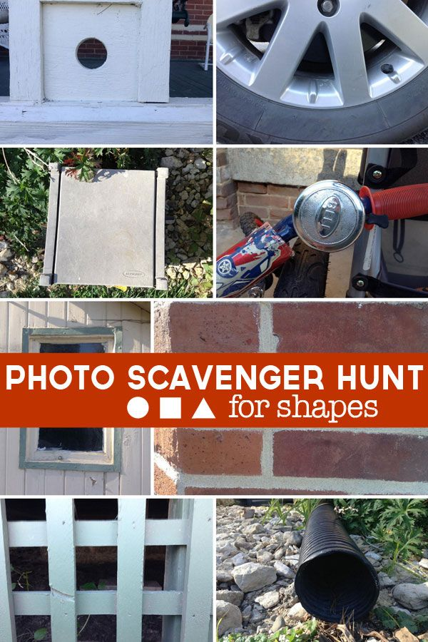 A photo scavenger hunt for kids to find shapes! Snap photos of objects that are of shapes and have the kids hunt for them and take their own photos!