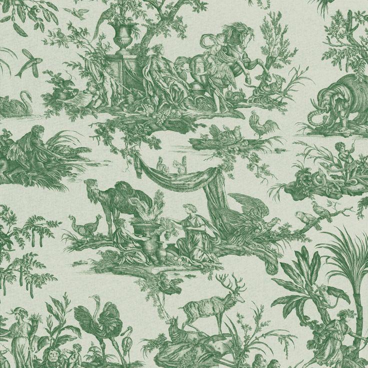 Toiles de Jouy - Les Quatre Parties du Monde vert fond lin