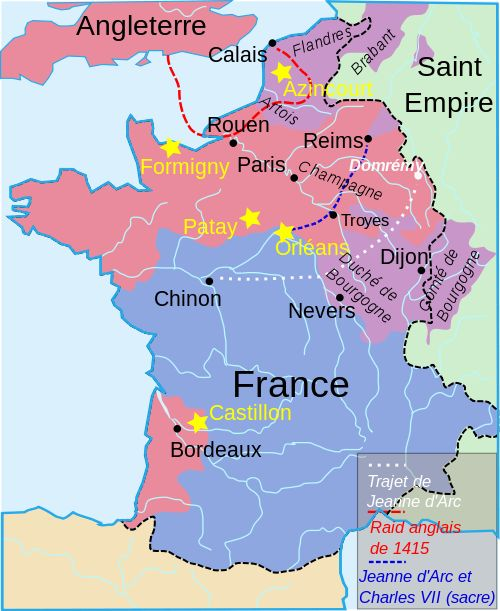 Carte de la guerre de cent ans à l'époque de Jeanne d'Arc