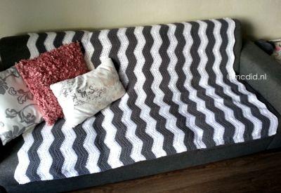 Zigzag stich crochet. Chevron blanket. Free tutorial and pattern. Zigzagsteek haken. Chevron deken haken. Gratis patroon en een handige uitleg in het Nederlands.