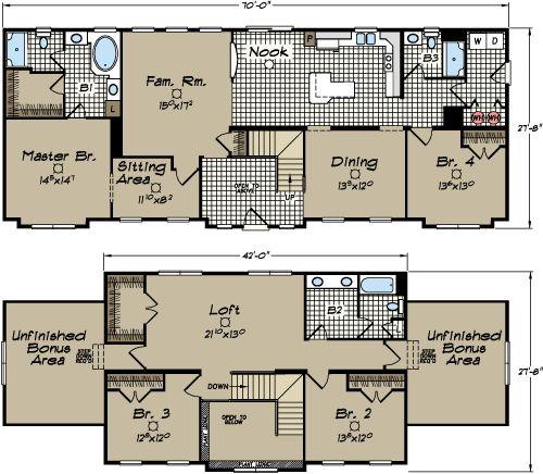 North Carolina Modular Home Floor Plans - Newton 2 Story