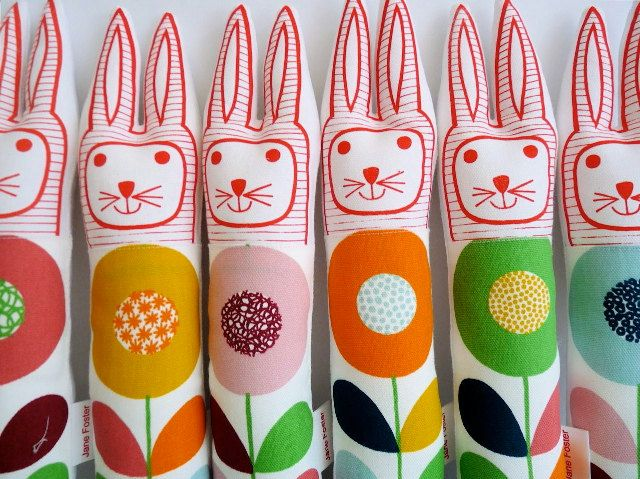 Child's scandinavian softie toy bunny rabbit plush retro Swedish Flower. $27.00, via Etsy.