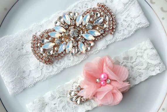 White Garter Set Pink Opal Rhinestone Pearl by TheTossedBouquet