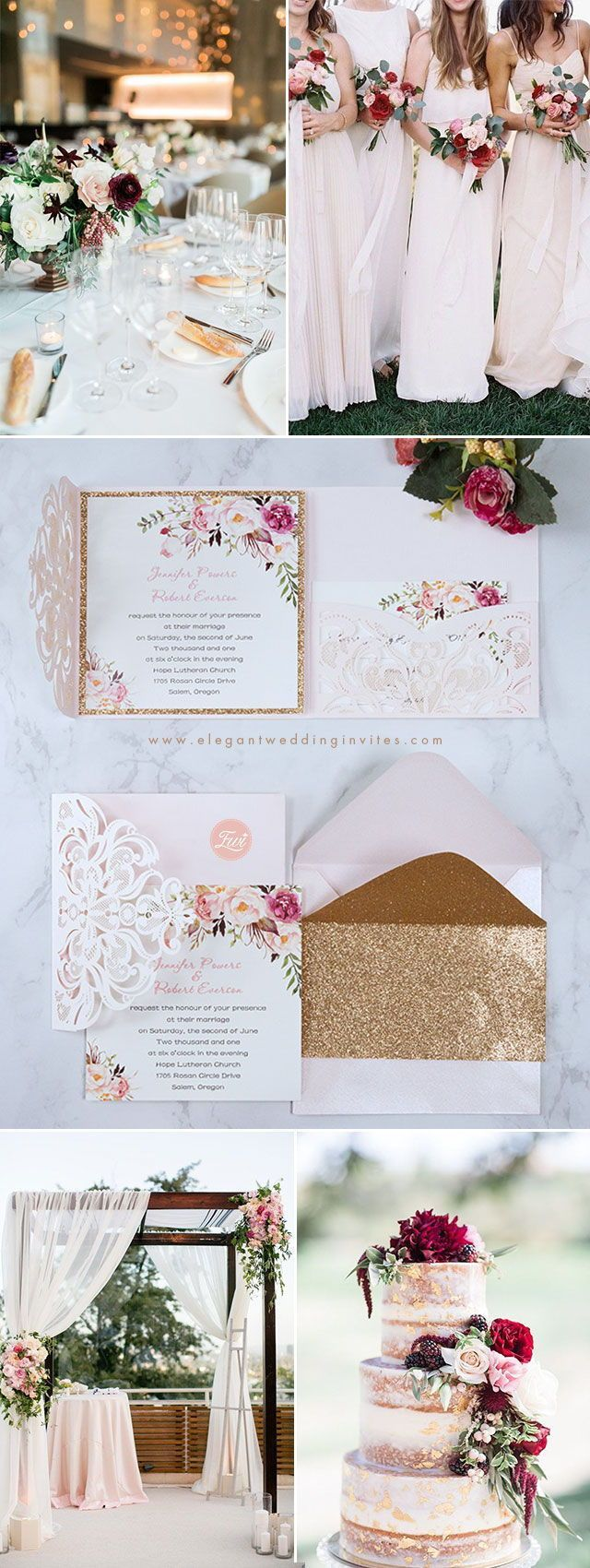 pocket wedding invitation templates%0A Fancy Blush Pink and Gold Floral Laser Cut Pocket Wedding Invitations  EWWS