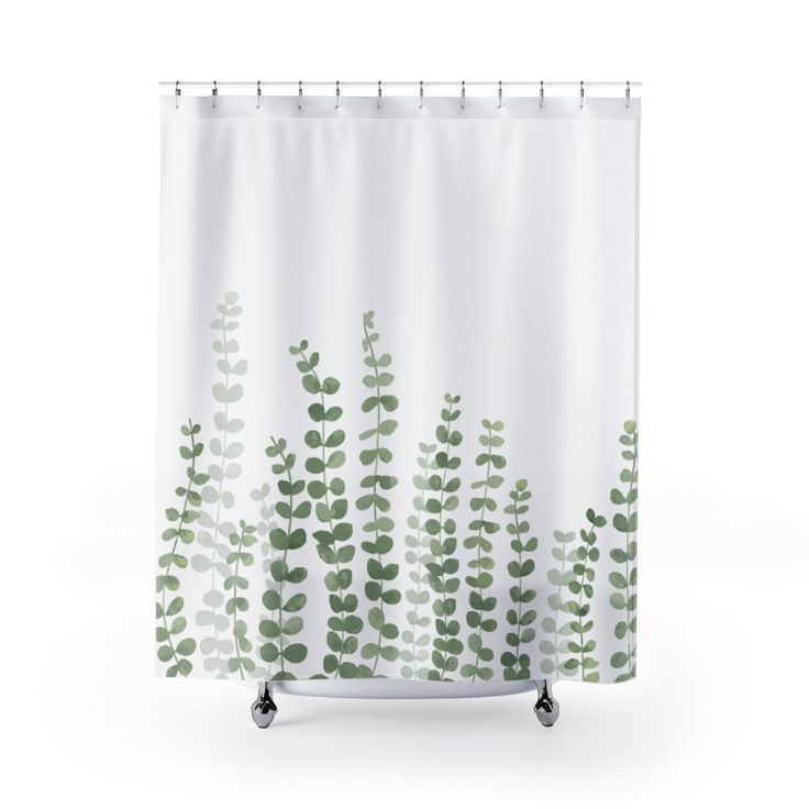 botanical, plants, Shower Curtain, white shower curtain with vines