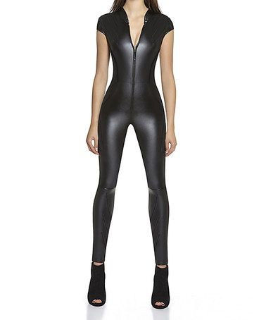 Loving this Black Faux Leather Center-Zip Enya Jumpsuit on #zulily! #zulilyfinds